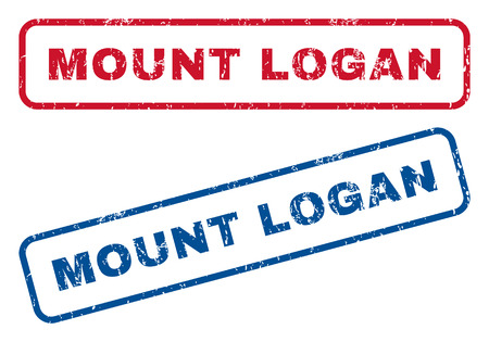 splashed: Mount Logan text rubber seal stamp watermarks. Vector style is blue and red ink tag inside rounded rectangular shape. Grunge design and scratched texture. Blue and red signs.