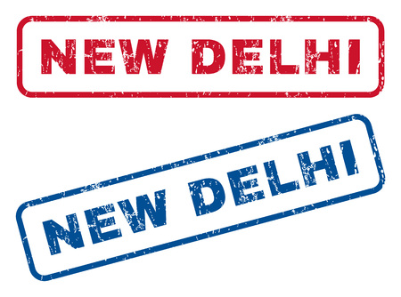 new delhi: New Delhi text rubber seal stamp watermarks. Vector style is blue and red ink caption inside rounded rectangular shape. Grunge design and dust texture. Blue and red stickers. Illustration