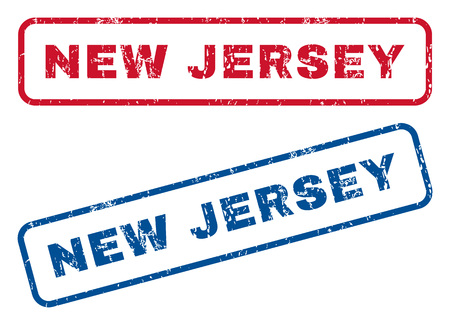 splashed: New Jersey text rubber seal stamp watermarks. Vector style is blue and red ink tag inside rounded rectangular banner. Grunge design and unclean texture. Blue and red stickers.