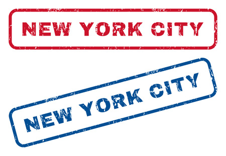 splashed: New York City text rubber seal stamp watermarks. Vector style is blue and red ink caption inside rounded rectangular banner. Grunge design and dust texture. Blue and red stickers.