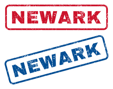 splashed: Newark text rubber seal stamp watermarks. Vector style is blue and red ink tag inside rounded rectangular shape. Grunge design and unclean texture. Blue and red signs. Illustration
