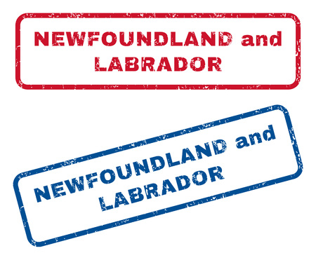splashed: Newfoundland and Labrador text rubber seal stamp watermarks. Vector style is blue and red ink caption inside rounded rectangular banner. Grunge design and scratched texture. Blue and red signs.