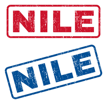 Nile text rubber seal stamp watermarks. Vector style is blue and red ink tag inside rounded rectangular shape. Grunge design and dirty texture. Blue and red emblems. Illustration