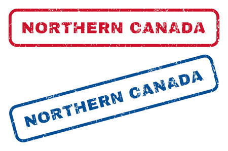 splashed: Northern Canada text rubber seal stamp watermarks. Vector style is blue and red ink tag inside rounded rectangular shape. Grunge design and scratched texture. Blue and red emblems.