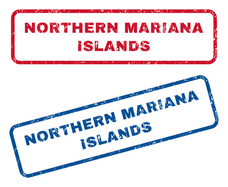 mariana: Northern Mariana Islands text rubber seal stamp watermarks. Vector style is blue and red ink caption inside rounded rectangular shape. Grunge design and dirty texture. Blue and red stickers.