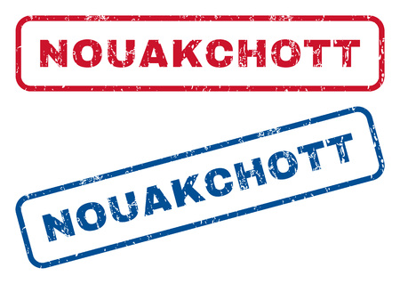 splashed: Nouakchott text rubber seal stamp watermarks. Vector style is blue and red ink caption inside rounded rectangular shape. Grunge design and dirty texture. Blue and red emblems.