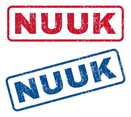 nuuk: Nuuk text rubber seal stamp watermarks. Vector style is blue and red ink tag inside rounded rectangular banner. Grunge design and scratched texture. Blue and red signs. Illustration