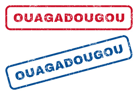 splashed: Ouagadougou text rubber seal stamp watermarks. Vector style is blue and red ink tag inside rounded rectangular banner. Grunge design and dust texture. Blue and red signs. Illustration