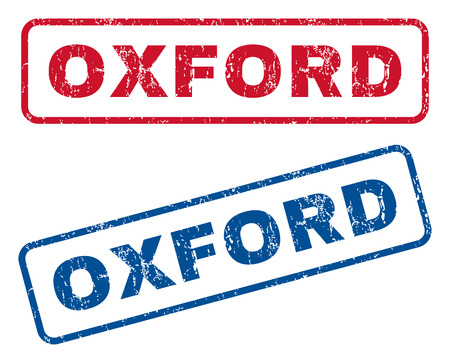 oxford: Oxford text rubber seal stamp watermarks. Vector style is blue and red ink caption inside rounded rectangular shape. Grunge design and dirty texture. Blue and red stickers.