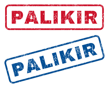 splashed: Palikir text rubber seal stamp watermarks. Vector style is blue and red ink tag inside rounded rectangular shape. Grunge design and unclean texture. Blue and red emblems. Illustration