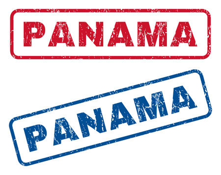 panamanian: Panama text rubber seal stamp watermarks. Vector style is blue and red ink caption inside rounded rectangular shape. Grunge design and dust texture. Blue and red signs. Illustration