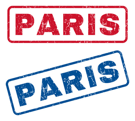 splashed: Paris text rubber seal stamp watermarks. Vector style is blue and red ink tag inside rounded rectangular banner. Grunge design and scratched texture. Blue and red stickers.