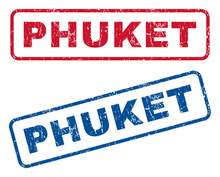Phuket text rubber seal stamp watermarks. Vector style is blue and red ink tag inside rounded rectangular shape. Grunge design and dust texture. Blue and red signs.