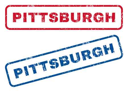 splashed: Pittsburgh text rubber seal stamp watermarks. Vector style is blue and red ink tag inside rounded rectangular banner. Grunge design and dirty texture. Blue and red signs. Illustration