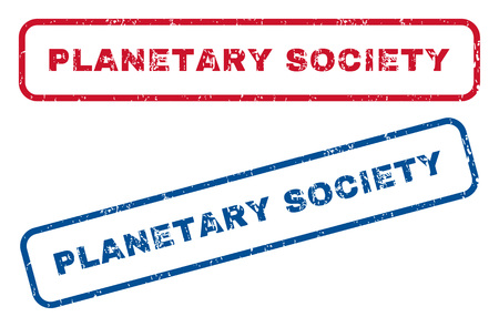 planetary: Planetary Society text rubber seal stamp watermarks. Vector style is blue and red ink tag inside rounded rectangular banner. Grunge design and dust texture. Blue and red stickers. Illustration