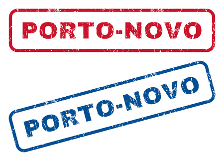 Porto-Novo text rubber seal stamp watermarks. Vector style is blue and red ink caption inside rounded rectangular shape. Grunge design and dirty texture. Blue and red emblems.