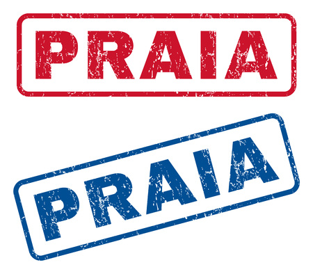 praia: Praia text rubber seal stamp watermarks. Vector style is blue and red ink tag inside rounded rectangular banner. Grunge design and dust texture. Blue and red signs. Illustration