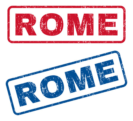 italia: Rome text rubber seal stamp watermarks. Vector style is blue and red ink caption inside rounded rectangular shape. Grunge design and unclean texture. Blue and red stickers. Illustration