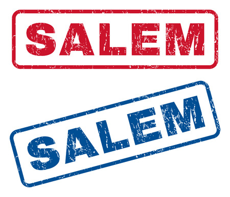 splashed: Salem text rubber seal stamp watermarks. Vector style is blue and red ink tag inside rounded rectangular banner. Grunge design and scratched texture. Blue and red emblems.
