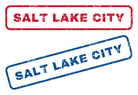 salt lake city: Salt Lake City text rubber seal stamp watermarks. Vector style is blue and red ink caption inside rounded rectangular shape. Grunge design and dirty texture. Blue and red signs. Illustration