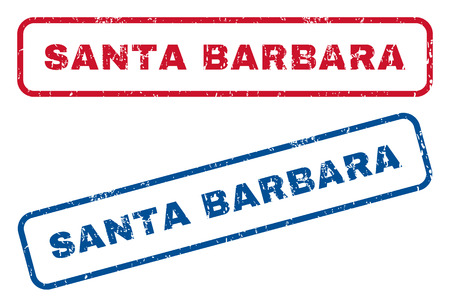 splashed: Santa Barbara text rubber seal stamp watermarks. Vector style is blue and red ink tag inside rounded rectangular banner. Grunge design and dirty texture. Blue and red stickers.