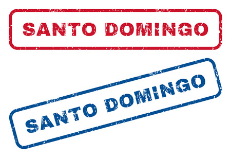 santo domingo: Santo Domingo text rubber seal stamp watermarks. Vector style is blue and red ink caption inside rounded rectangular shape. Grunge design and scratched texture. Blue and red signs. Illustration