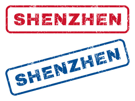 splashed: Shenzhen text rubber seal stamp watermarks. Vector style is blue and red ink tag inside rounded rectangular shape. Grunge design and dirty texture. Blue and red stickers. Illustration