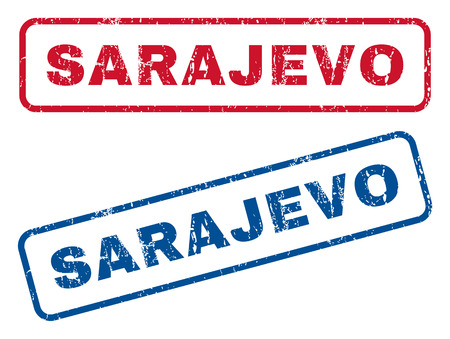 splashed: Sarajevo text rubber seal stamp watermarks. Vector style is blue and red ink caption inside rounded rectangular shape. Grunge design and dust texture. Blue and red stickers.