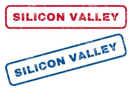 Silicon Valley Text Gummidichtung Stempel Wasserzeichen. Vector Art ist blaue und rote Tinte Untertitel innerhalb der abgerundeten rechteckigen Form. Grunge Design und schmutzige Textur. Blaue und rote Aufkleber.