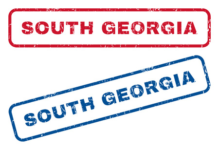 south georgia: South Georgia text rubber seal stamp watermarks. Vector style is blue and red ink caption inside rounded rectangular shape. Grunge design and dirty texture. Blue and red emblems.