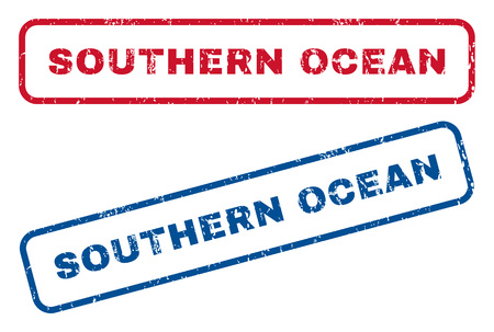 splashed: Southern Ocean text rubber seal stamp watermarks. Vector style is blue and red ink caption inside rounded rectangular shape. Grunge design and dust texture. Blue and red stickers. Illustration