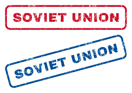 soviet union: Soviet Union text rubber seal stamp watermarks. Vector style is blue and red ink caption inside rounded rectangular banner. Grunge design and dust texture. Blue and red signs.