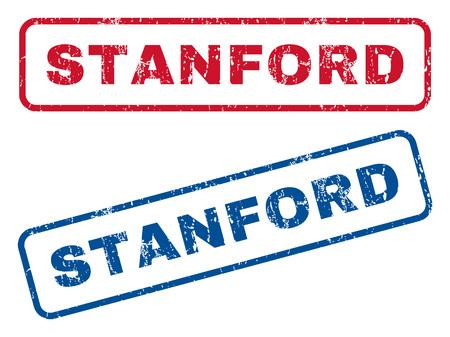 Borracha de texto de Stanford selo marcas d'água de carimbo. Estilo de vetor é tinta azul e vermelha marca dentro banner retangular arredondado. Grunge design e textura riscada. Emblemas azuis e vermelhos. Ilustración de vector