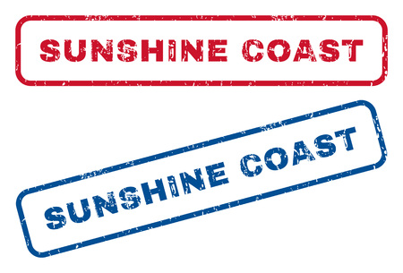 splashed: Sunshine Coast text rubber seal stamp watermarks. Vector style is blue and red ink caption inside rounded rectangular shape. Grunge design and dust texture. Blue and red signs.