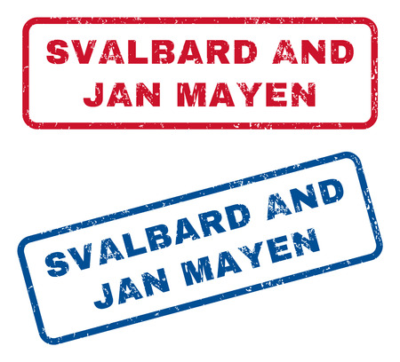 jan: Svalbard and Jan Mayen text rubber seal stamp watermarks. Vector style is blue and red ink tag inside rounded rectangular shape. Grunge design and dust texture. Blue and red signs.