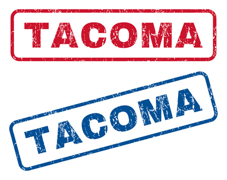 tacoma: Tacoma text rubber seal stamp watermarks. Vector style is blue and red ink caption inside rounded rectangular banner. Grunge design and dust texture. Blue and red signs.