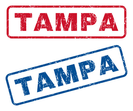 splashed: Tampa text rubber seal stamp watermarks. Vector style is blue and red ink tag inside rounded rectangular shape. Grunge design and dirty texture. Blue and red signs. Illustration