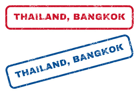 thailand bangkok: Thailand, Bangkok text rubber seal stamp watermarks. Vector style is blue and red ink caption inside rounded rectangular shape. Grunge design and dust texture. Blue and red emblems. Illustration