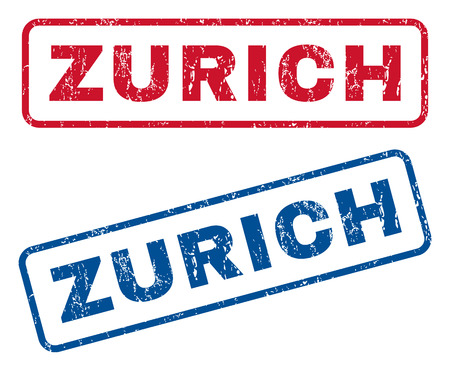 splashed: Zurich text rubber seal stamp watermarks. Vector style is blue and red ink caption inside rounded rectangular banner. Grunge design and unclean texture. Blue and red emblems.