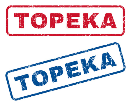 splashed: Topeka text rubber seal stamp watermarks. Vector style is blue and red ink tag inside rounded rectangular banner. Grunge design and scratched texture. Blue and red signs.