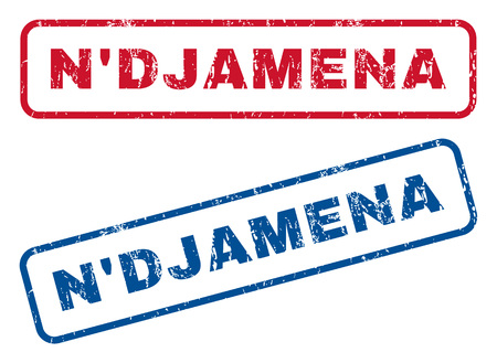 NDjamena text rubber seal stamp watermarks. Vector style is blue and red ink caption inside rounded rectangular banner. Grunge design and scratched texture. Blue and red signs. Vetores