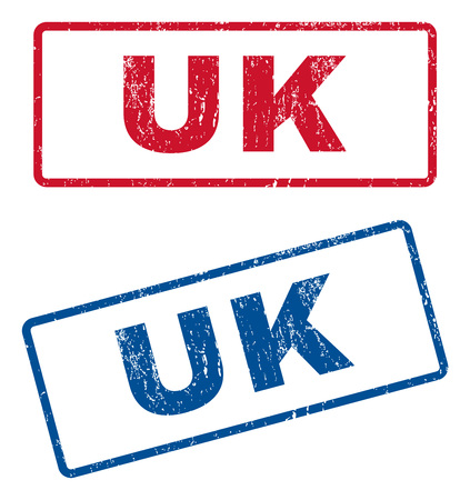 splashed: UK text rubber seal stamp watermarks. Vector style is blue and red ink tag inside rounded rectangular shape. Grunge design and dirty texture. Blue and red stickers.