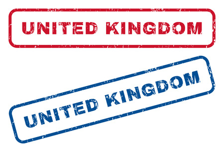 splashed: United Kingdom text rubber seal stamp watermarks. Vector style is blue and red ink caption inside rounded rectangular shape. Grunge design and unclean texture. Blue and red emblems. Illustration