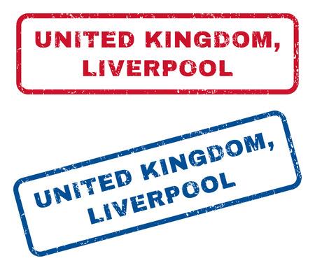 Reino Unido, marcas de agua del sello del sello de goma del texto de Liverpool. El estilo del vector es etiqueta azul y roja de la tinta dentro de la bandera rectangular redondeada. Diseño Grunge y textura sucia. Signos azules y rojos.