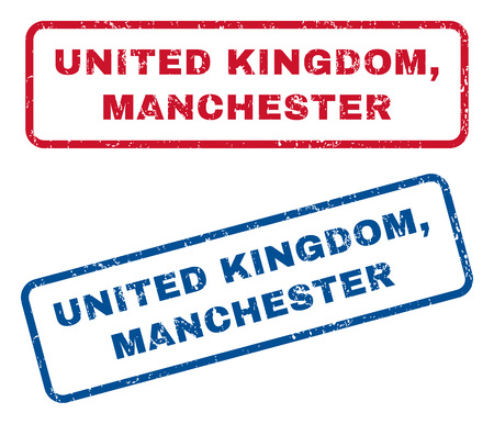 manchester: United Kingdom, Manchester text rubber seal stamp watermarks. Vector style is blue and red ink caption inside rounded rectangular banner. Grunge design and scratched texture. Blue and red stickers.