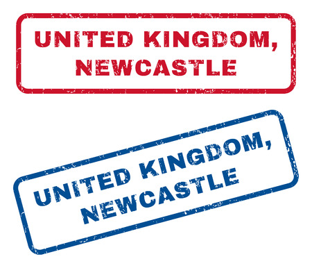 splashed: United Kingdom, Newcastle text rubber seal stamp watermarks. Vector style is blue and red ink caption inside rounded rectangular shape. Grunge design and unclean texture. Blue and red stickers.