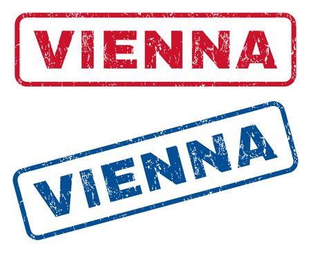 splashed: Vienna text rubber seal stamp watermarks. Vector style is blue and red ink tag inside rounded rectangular banner. Grunge design and dirty texture. Blue and red emblems.