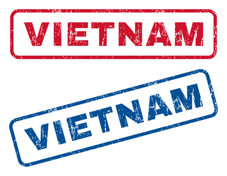 vietnam texto de la marca de caucho sello sello de marca de agua de texto azul y etiqueta de tinta roja en forma de ilustración rectangular de color rojo . textura sucia y el color azul. marcas y rojas