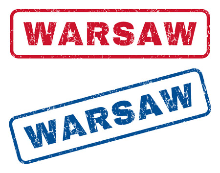 splashed: Warsaw text rubber seal stamp watermarks. Vector style is blue and red ink caption inside rounded rectangular banner. Grunge design and dust texture. Blue and red emblems.