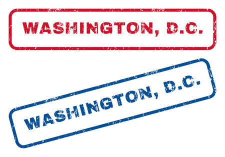 district of columbia: Washington, D.C. text rubber seal stamp watermarks. Vector style is blue and red ink caption inside rounded rectangular shape. Grunge design and dirty texture. Blue and red signs.